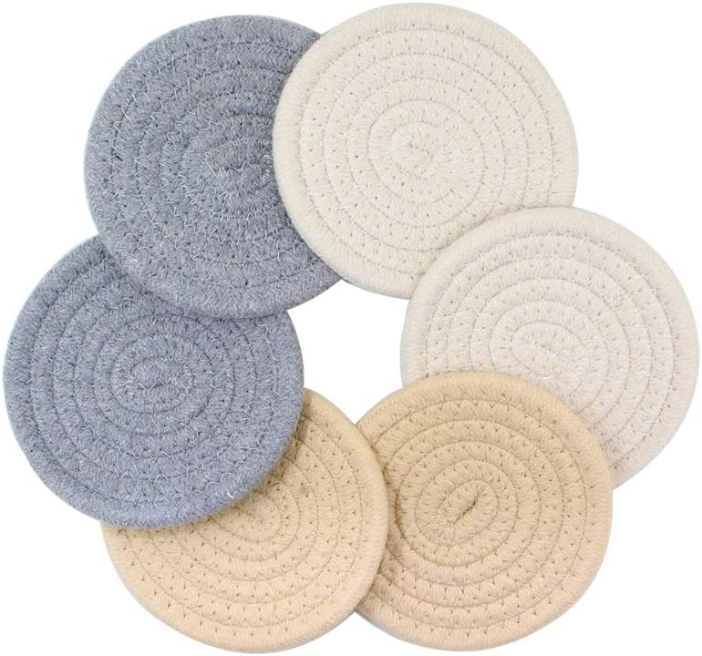 Coaster Set Furniture Coasters for Drink Absorbent Cup Coasters Mats Non-Slip Handcrafted Coaster for Home Kitchen Tea Coffee 6 Packs