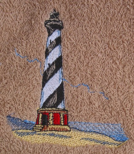 (Waffle Weave Dish Towel Embroidered with Cape Hatteras Lighthouse - Medium Blue)