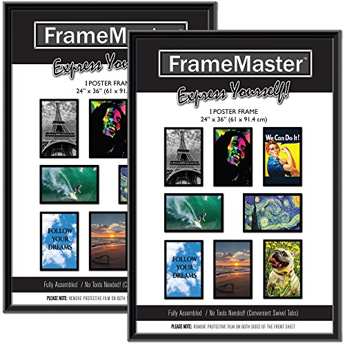 FrameMaster 24x36 Poster Frames (2-Pack); Pre-Assembled with Sturdy MDF Backer Board, Black