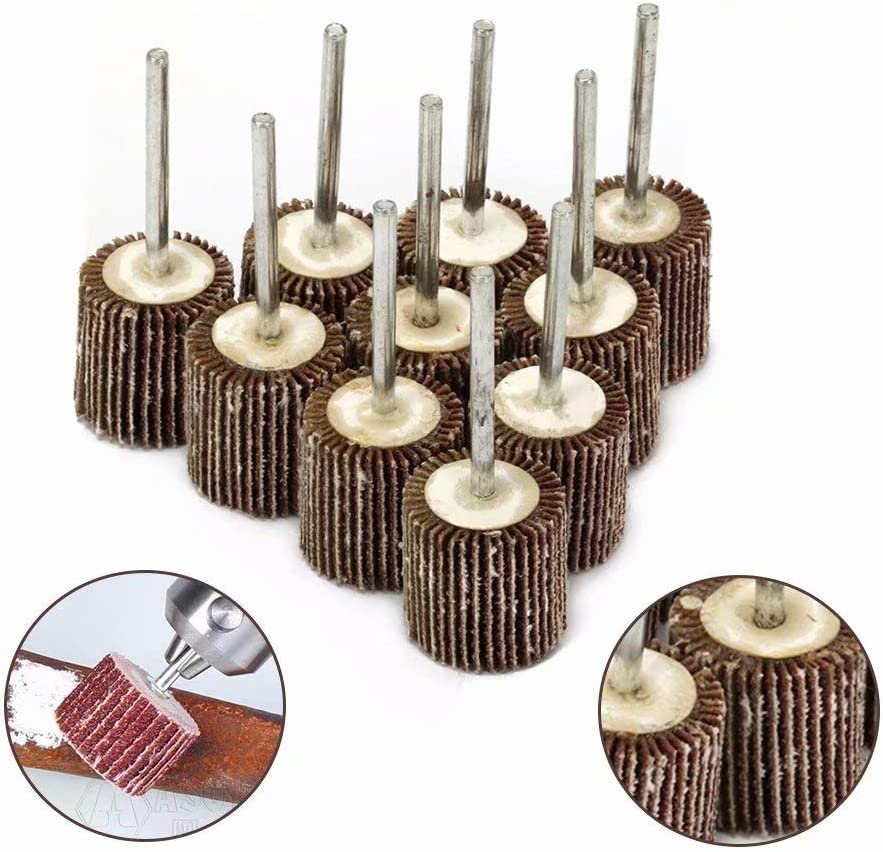 50Pcs Sanding Sandpaper Flap Wheel Grinding Disc with 3mm Shank Rotary Tools for Deburring and Polishing of Flat and Contoured Surfaces 80 Grit 30x10x3mm