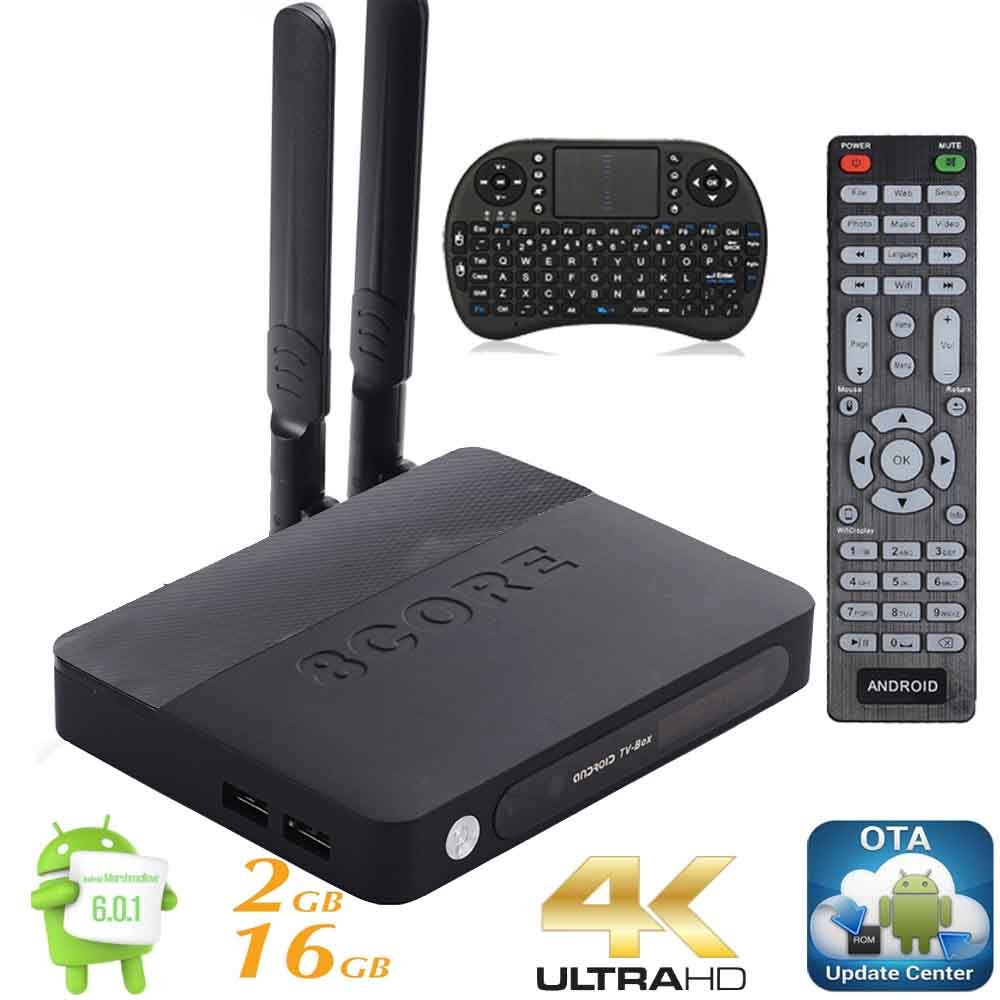 Kukele Internet Streaming Media Player MINI PC [K-U updator/S912/2GB+16GB/Octa Core/4K/Antenna/Instruction/Wireless Keyboard] Android Marshmallow TV Box Pro Media Center by KUKELE