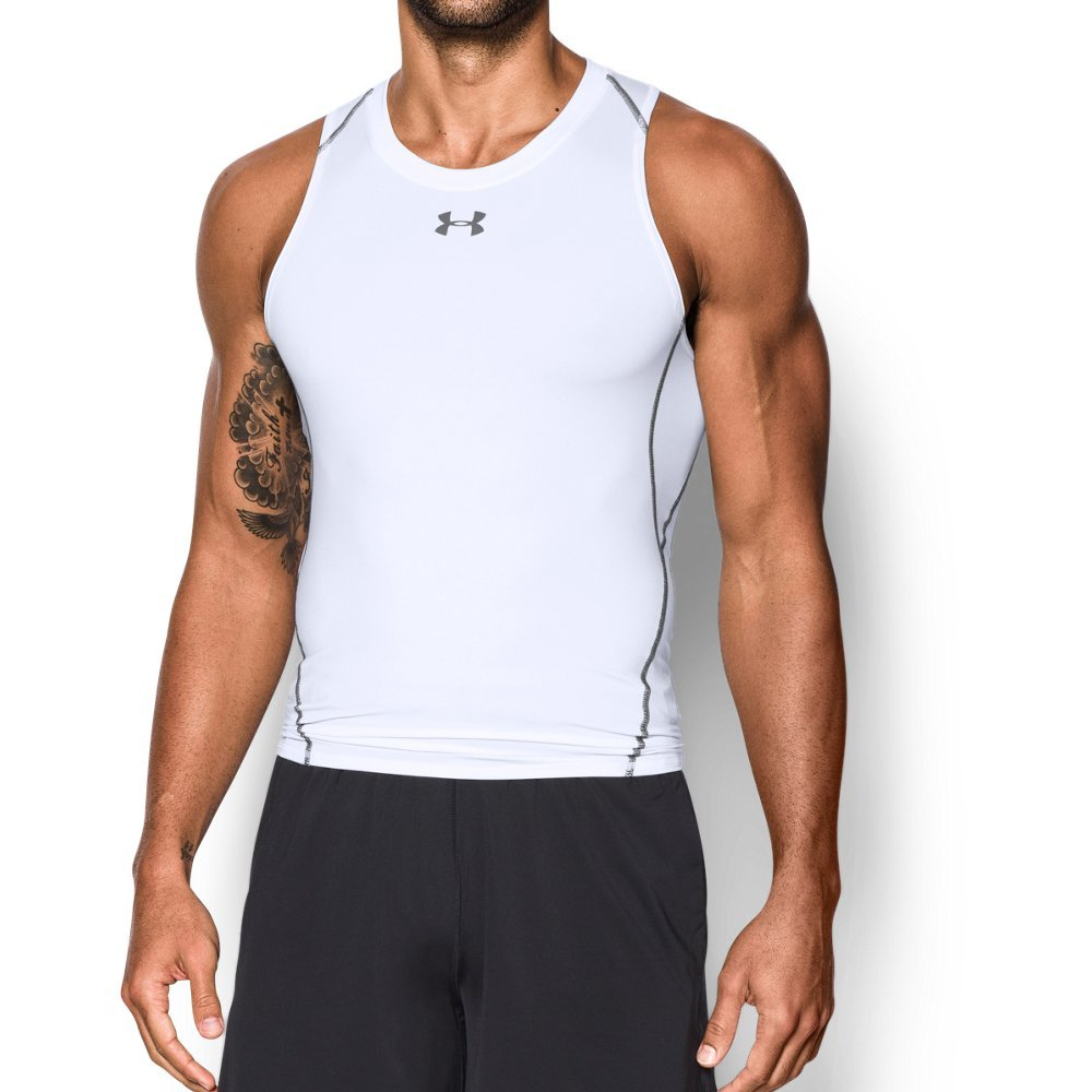 fcda1430c Galleon - Under Armour Men's HeatGear Armour Compression Tank Top, White  /Graphite, Large