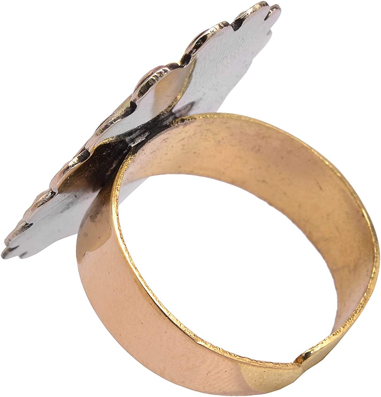 Zephyrr Fashion Ring Oval Shaped Red /& Green Enamel Work on Golden Metal Ethnic JR-79