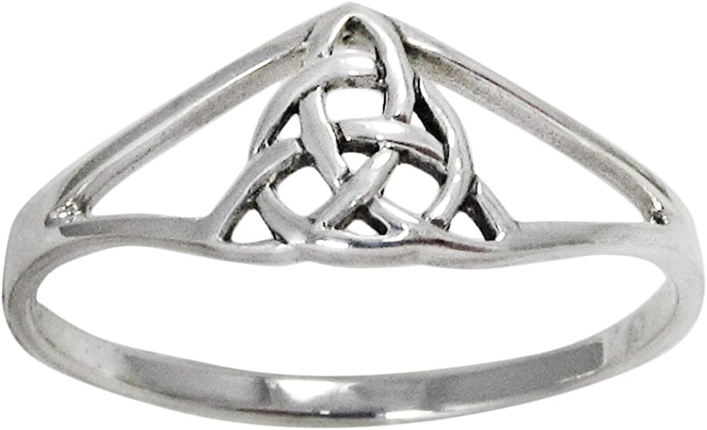 Moonlight Mysteries Sterling Silver Trinity Knot Slender Band Ring (sz 4-15)