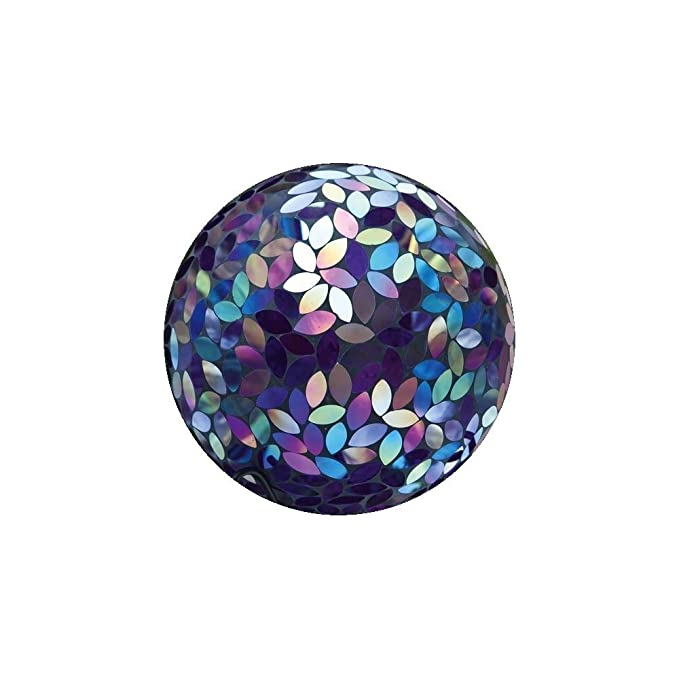 """Evergreen Garden Purple Iridescent Flower Petal Mosaic Glass Gazing Ball - 10""""L x 10""""W x 12""""H"""