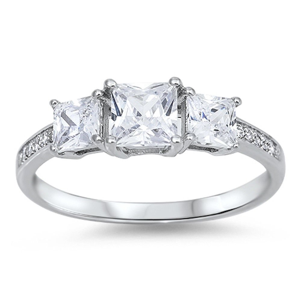 3 Stone Princess Cut Cz Engagement .925 Sterling Silver Ring Sizes 4-11 (12)