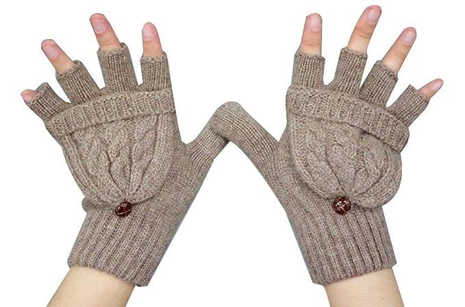 88d4261d0f354a Fletion Damen Mädchen Winter Halb Handschuhe Winter Wärmer Strick Handschuhe  Gestrickte Fingerlose Fäustlinge mit Flip Top