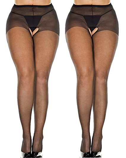 5dbe45a02 WisLotife Women s Plus Size Sheer Crotchless Pantyhose Seamless Open Crotch  Tights Shiny Silk Stockings