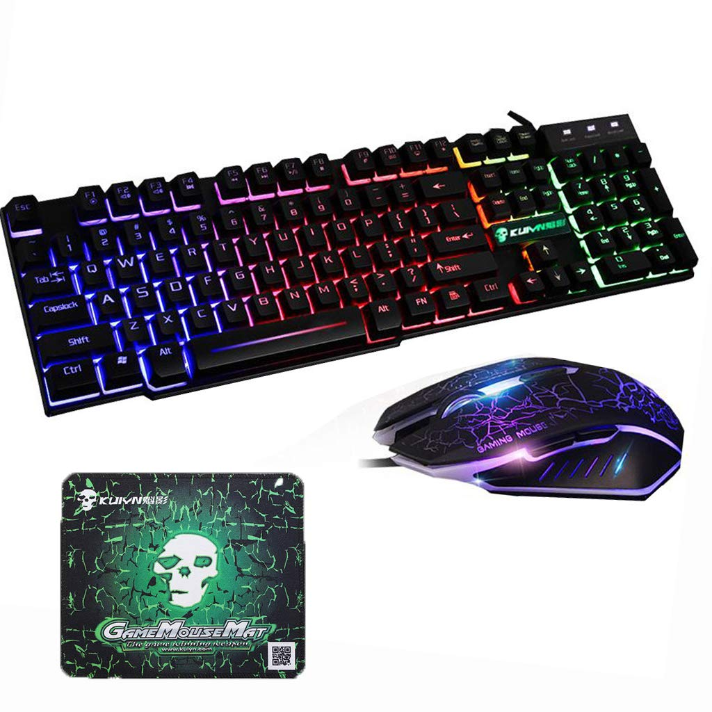 Axiba Waterproof Gaming Keyboard Mouse Sets USB Wired 104 Keys Skull Rainbow LED Backlit Multimedia Ergonomic Gamer Keyboard 2400DPI 6 Buttons Optical Professional Game Mice Mouse Pad Skull Black