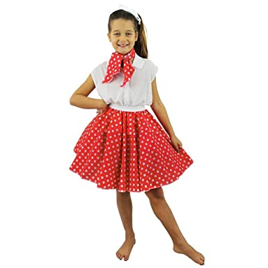 Kids Polka Dot Skirt Girls Rock And Roll Poodle Children 1950S Party Dress