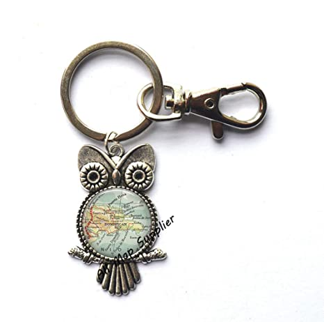 Amazon.com: Charming Owl Keychain Dominican Republic map Owl ...