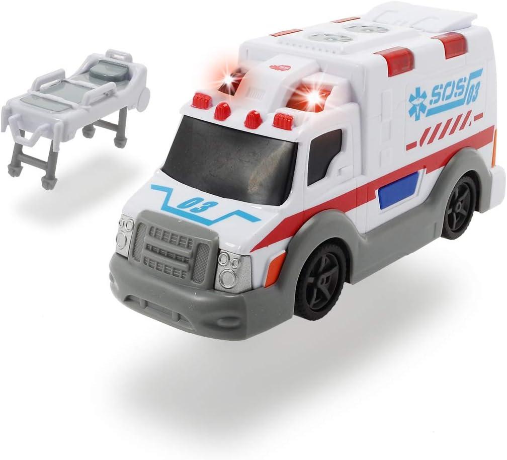 Dickie-Ambulancia Action Series 15cm 3302004 (+3 años) Vehículo de juguete con función, color blanco , color/modelo surtido