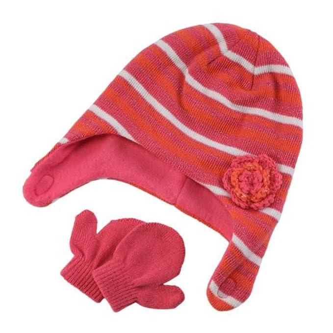264475d6ba1 Baby Kisses Infant Toddler Girls Striped Pink Orange Trapper Hat Mittens  Infant