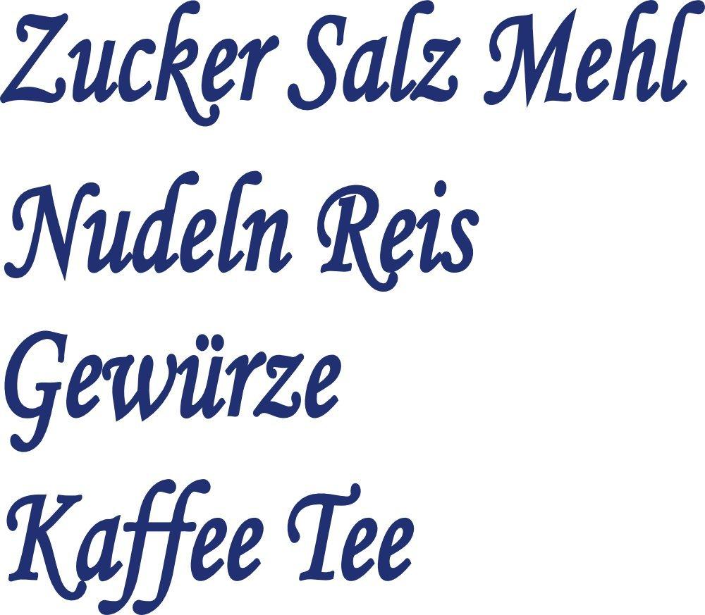 Vorratsdosen Mehl Zucker Salz küchenset 8x blaue aufkleber beschriftung für vorratsdosen
