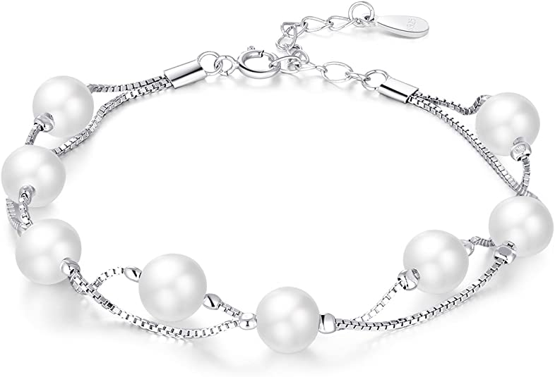 with round-shaped freshwater pearls,fit:cm.20,nickel free BR 2 PEARL 925/% silver bracelet