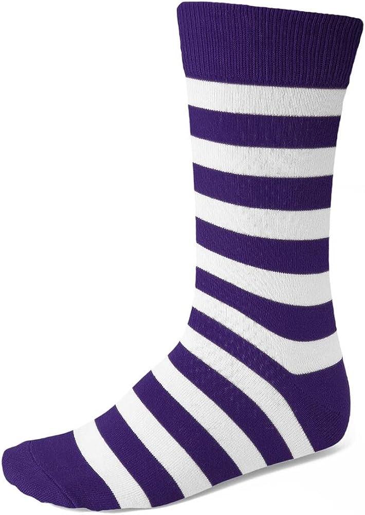 TieMart Men's Dark Purple and White Striped Socks