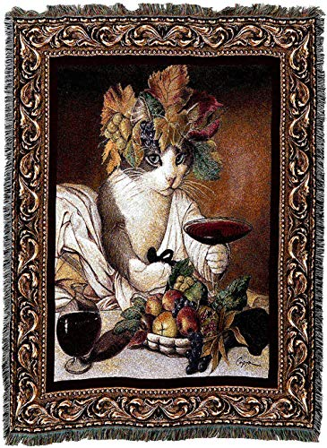 Pure Country Weavers - Bacchus Cat Wine Lover Cat Woven Tapestry Blanket or Wall Art with Fringe Cotton USA 72x54