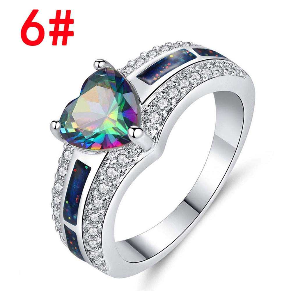Men Women Rhinestone Inlaid Zircon Ring Couple Promise Wedding Fashion Jewelry