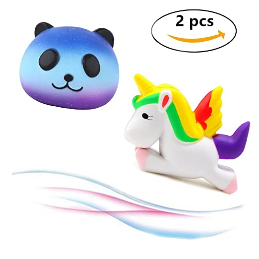 Beelittle 2 Pcs Slow Rising Squishy Toys Kawaii Galaxy Panda Squishy and Soft Unicorn Squishy, Charm Stress Relief and Time Killing Squishies Jumbo