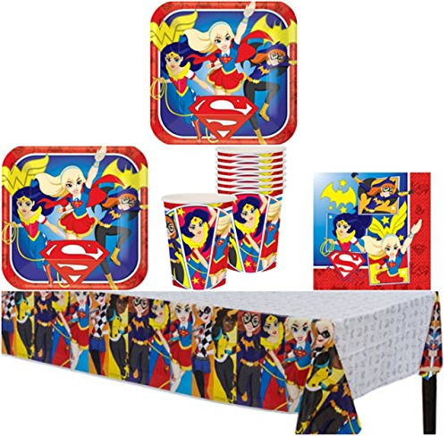 Wonder Woman And The DC Super Hero Girls Birthday Party Supplies Pack for 8 Guests - Lunch Plates, Dessert Plates, Lunch Napkins, Cups, and a Table Cover (Wonder Woman Party Decorations)