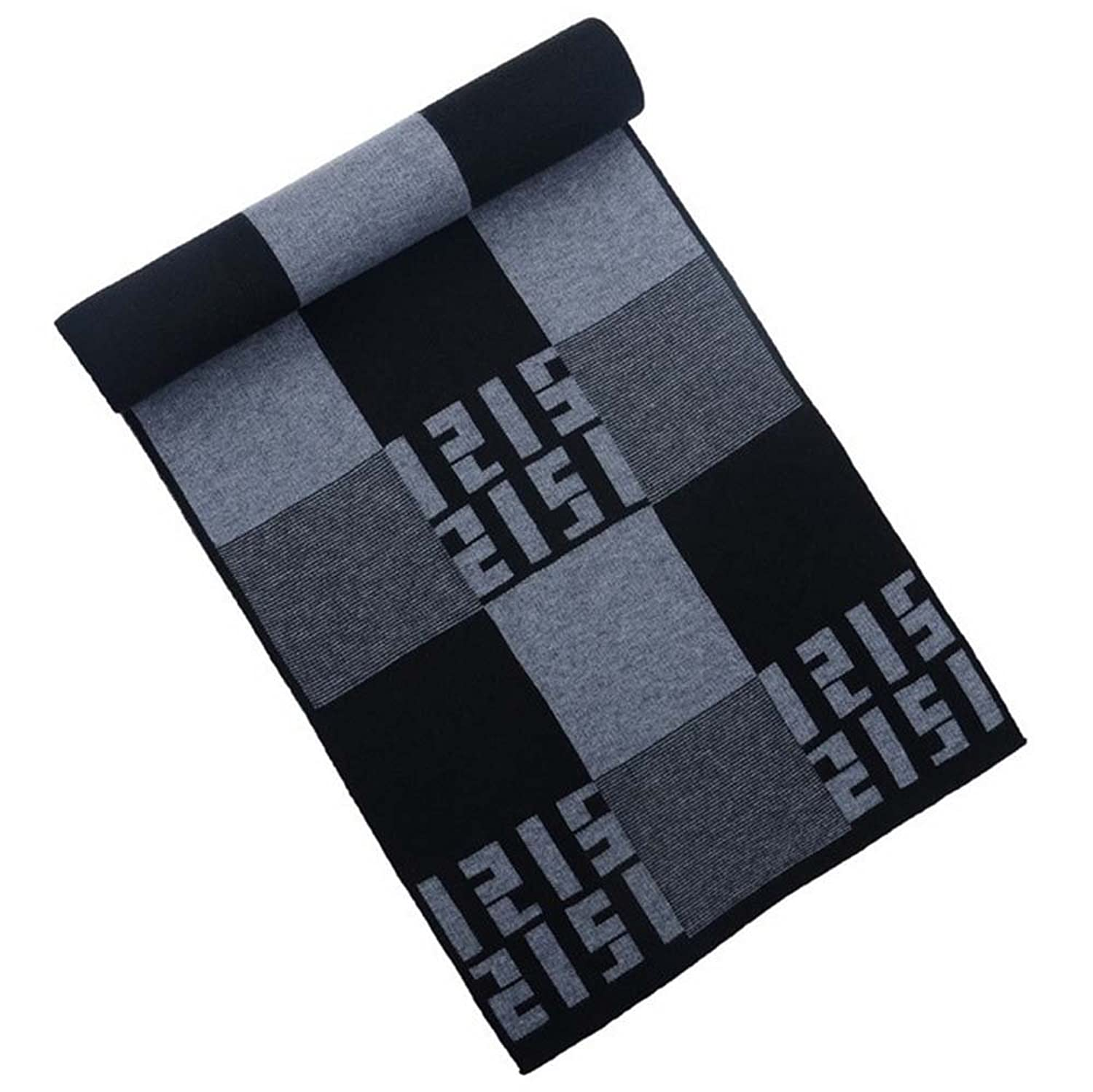 The new men's winter thick knitted scarf Korean scarf classic plaid scarves