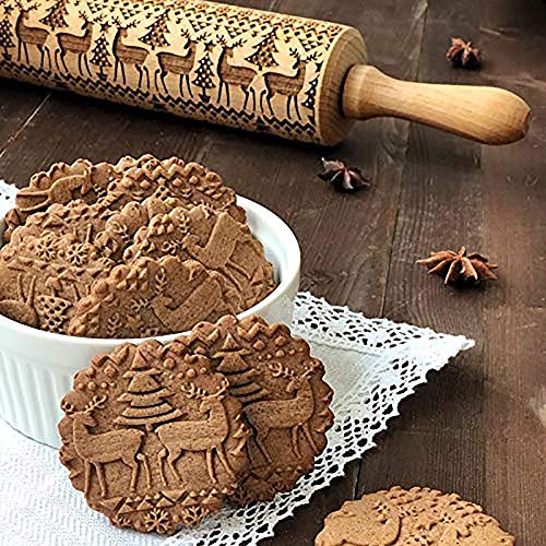 (Christmas Rolling Pin Engraved Carved Wood Embossed Rolling Pins Embossing Kitchen rouleau patisserie plastique fondant roller)