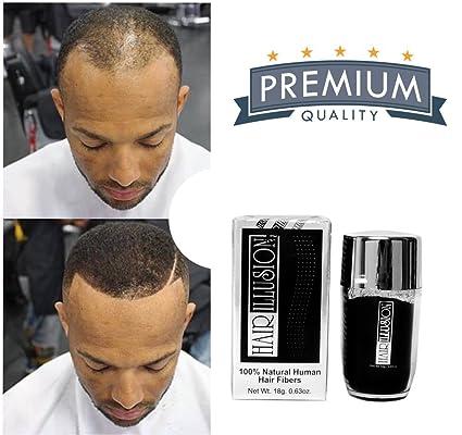 Hair Illusion: Premium Hair Loss Concealer, For Men & Women, 100% Real Human Hair Fiber, Black 18g
