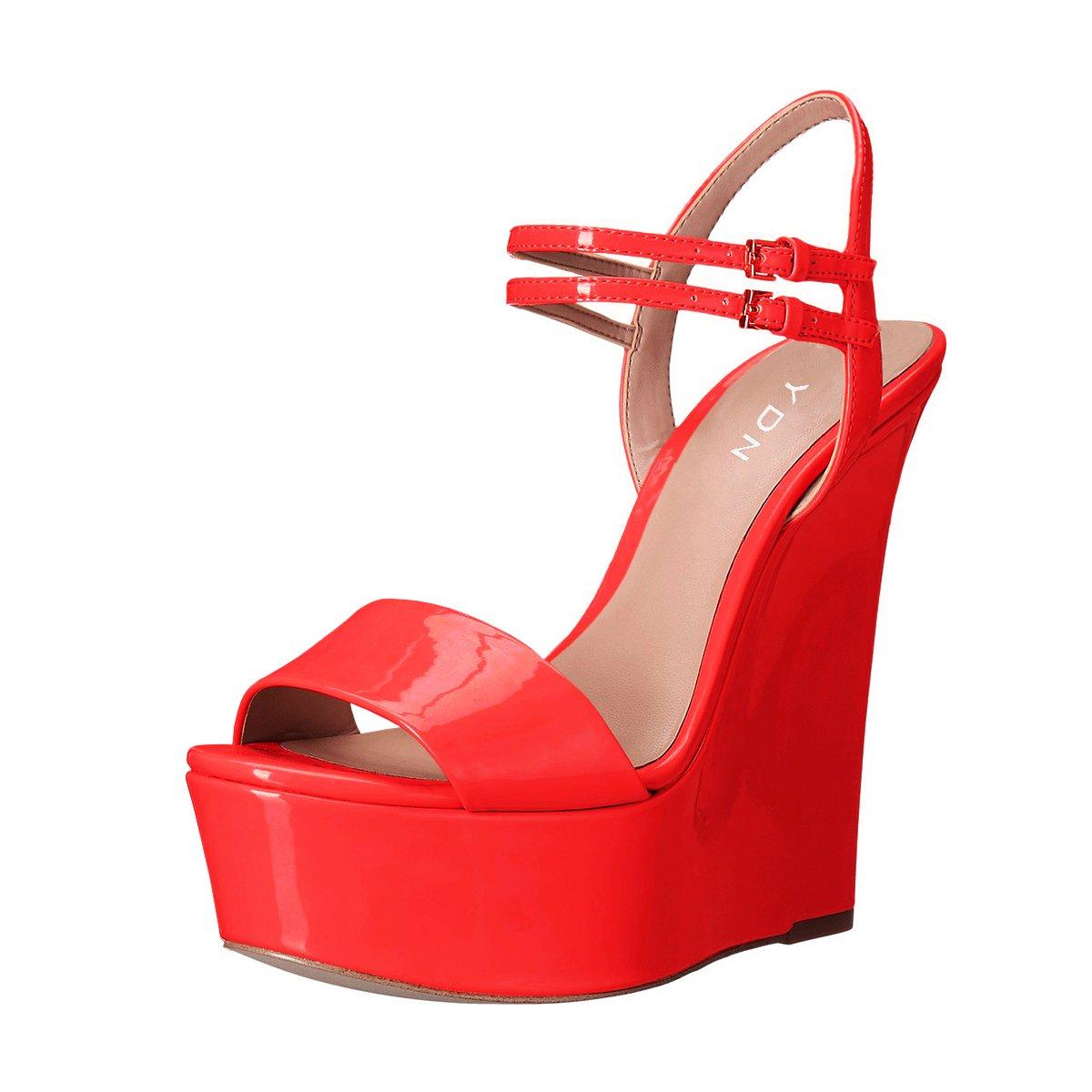 YDN Women Peep Toe High Heel Wedge Sandals Ankle Straps Platform Pumps Slingback Shoes B0722Y5TX3 10 B(M) US|Red