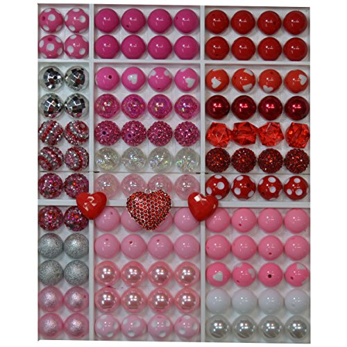 Valentine Themed Bulk Party Mix of 20mm Acrylic Bubblegum Beads in Red and Pink Colors with Heart Rhinestone Pendant