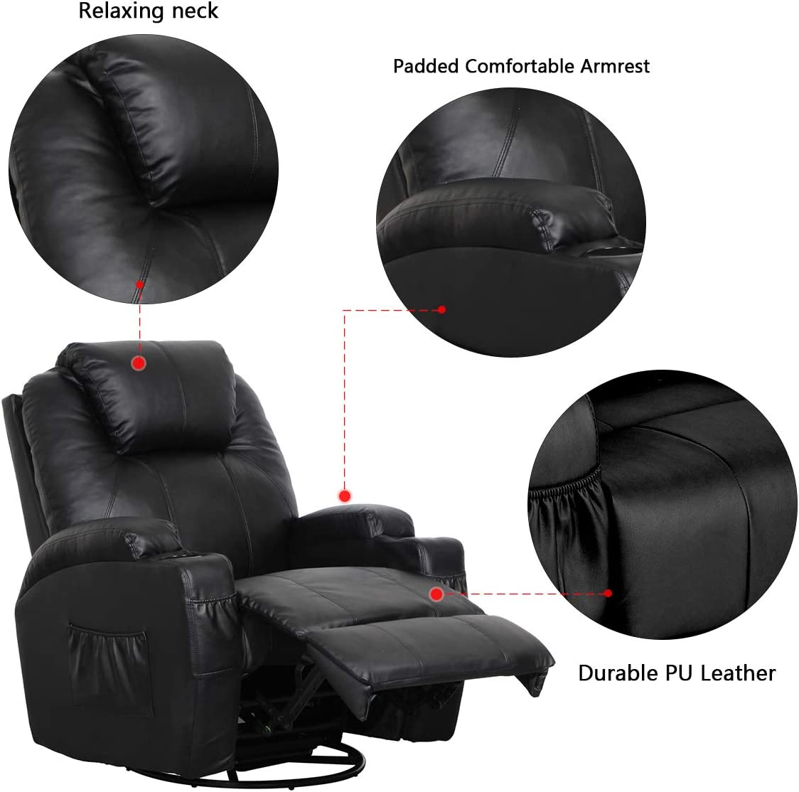 Esright Recliner Lounge Chair padded armrest with durable leather