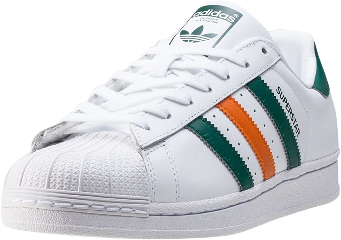 adidas superstar green and orange stripes