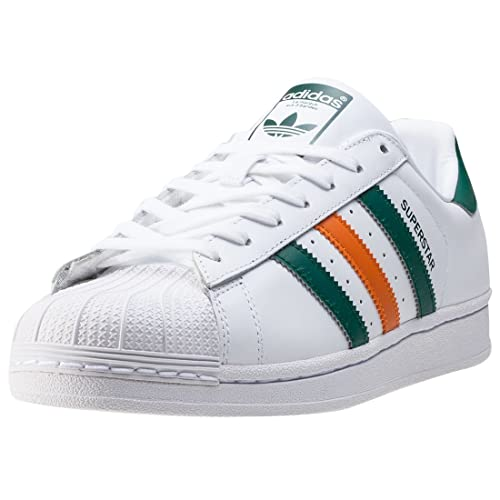 adidas Superstar 2 Tone Stripes Womens Trainers White Orange Green - 4 UK