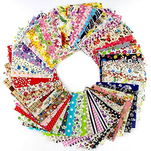 60 Pcs 4 x 4 inches Printed Assorted Craft Fabric Bundle Squares Patchwork Fabric Sets for DIY Sewing Scrapbooking Quilting Dot Pattern