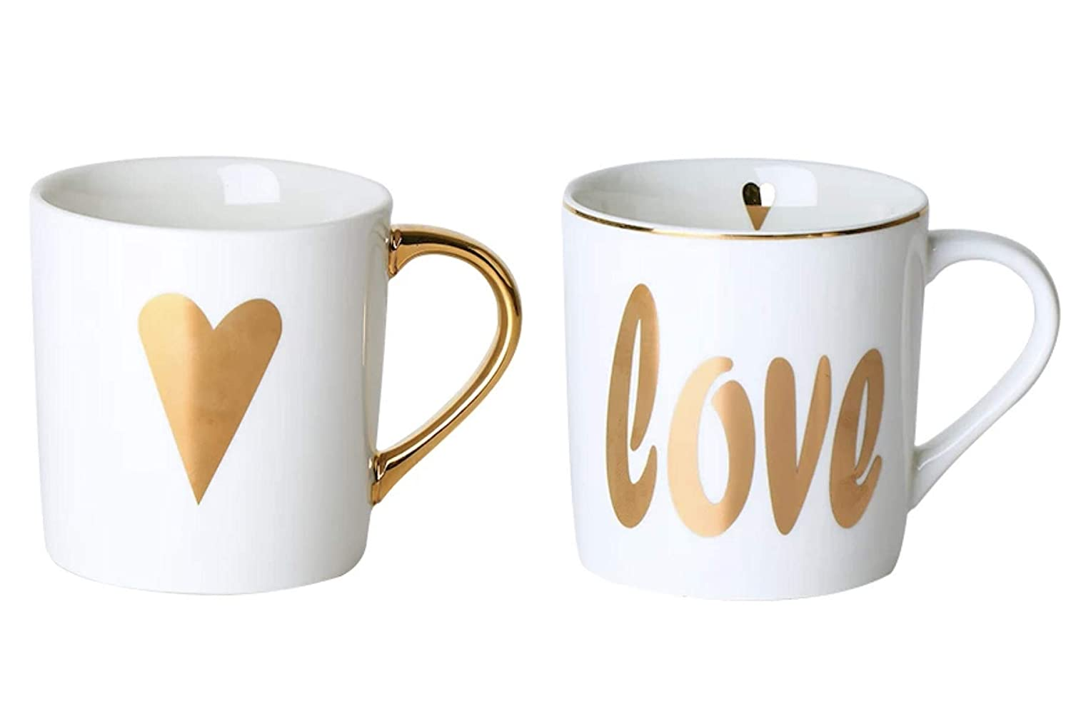CheeseandU 2Pack Flawless Ceramic Coffee Cups HER King HIS Queen Couple-Mugs Set Gold Silver Painted Porcelain Water Mugs for Couple Boyfriend Anniversary Husband Mom Gift