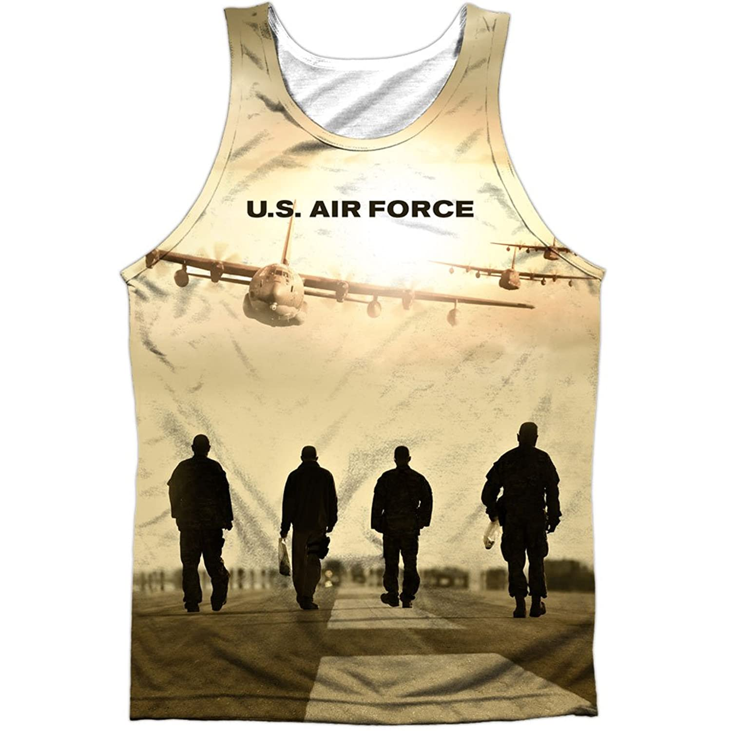 United States Armed Forces Air Force USAF Runway Walk Front Print Tank Top Shirt