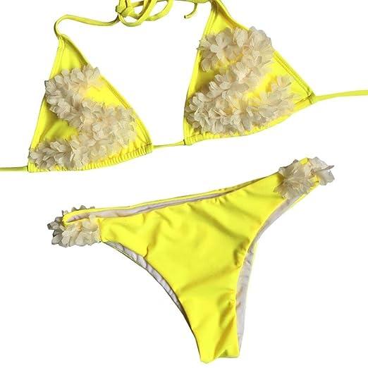 01f04eea7b Minisoya Women Flower Applique Bikini Set Push-Up Padded Swimsuit ...