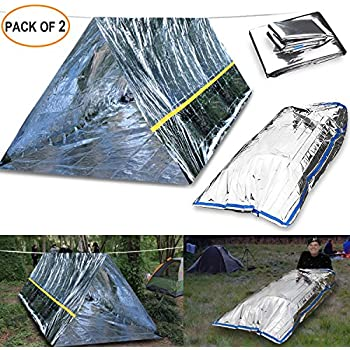 EMDMAK Emergency Mylar Thermal Survival Tent and Sleeping bag Survival Shelter for C&ing Hiking Travelling or Adventures (Pack of 2) & Amazon.com : Emergency Thermal Tent- Reflective Mylar Survival ...