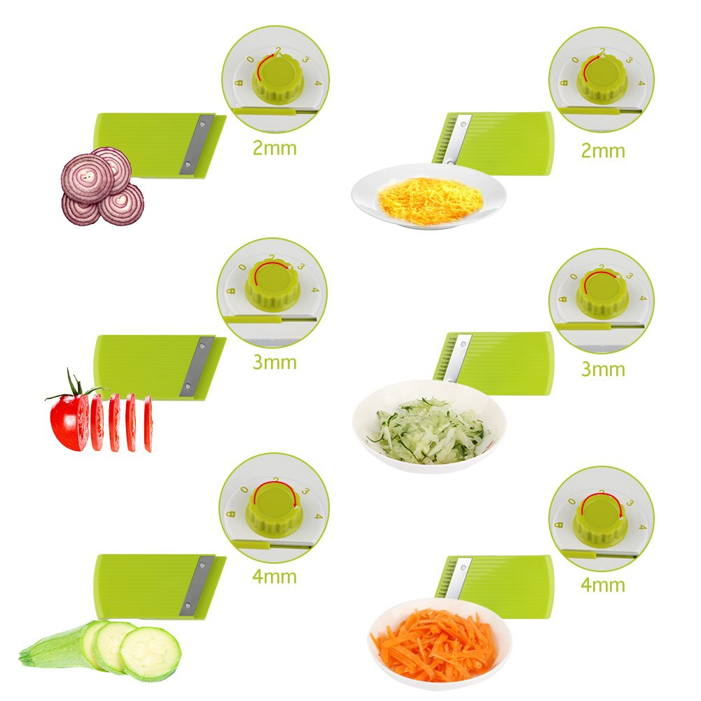 Adjustable Mandoline Food Slicer - 4 Blades - Vegetable Cutter, Cheese Grater, Julienne Vegetable Slicer & Fine Grater - Compact, Veggie Slicer Kitchen Gadget Slicer Dicer, Dishwasher Safe by Chugod (Image #4)