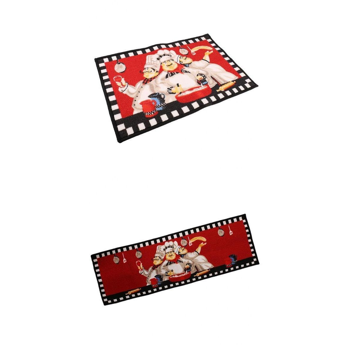 D DOLITY Dining Room Mat Runner Machine Washable Floor Carpet Kitchen Rug Mats-Chef Pattern (40x60cm+ 40x120cm)