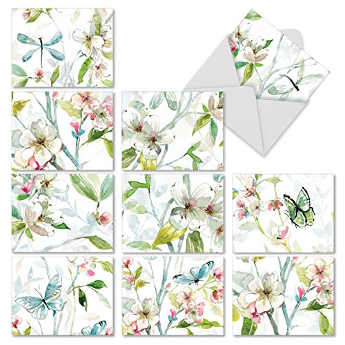 M6592TYG Dogwood Days: 10 Assorted Thank You Note Cards Featuring a Larger Painting of Watercolor Dogwood Flowers That is Cropped into Smaller Images, w/White - Nectar New Card Order A