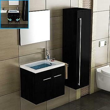 Waschtisch mit unterschrank gäste wc  Design Waschtisch-Set 50 cm in Schwarz Mineralgussbecken mit ...