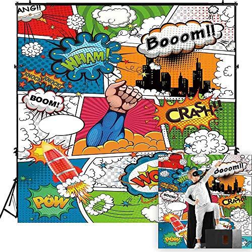 Funnytree 6x6ft Superhero Theme Party Backdrop Cartoon City