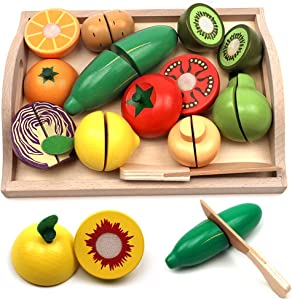 Take Me Away Wooden Cutting Fruit Vegetables Set for Kids - Pretend Play Food Toy Set with Wooden Knife and Tray (Fruit-E)