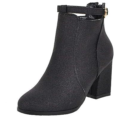 Aiyoumei Kurzschaft Damen High Stiefel Boots Glitzer Ankle Y9WEHD2I