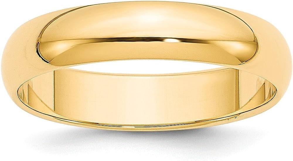 14k 5mm Half-Round Wedding Mens Womens Wedding Anniversary Band Finger Size