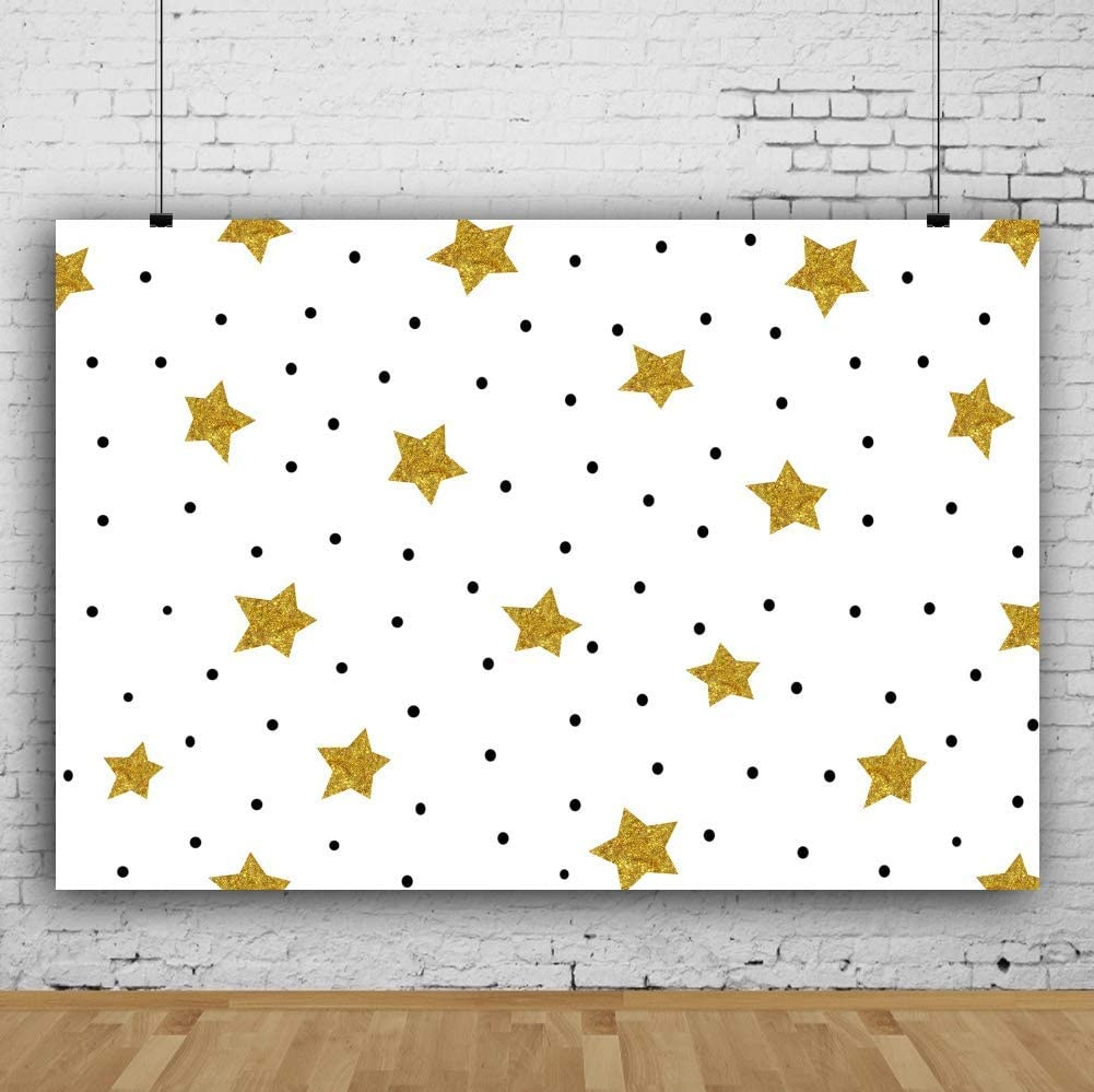 Golden Stars Backdrop 10x7ft Black Dots White Vinyl Photography Background Glitter Twinkle Stars Baby Shower Birthday Party Decor Studio Photo Prop Portraits Shoot Poster Wallpaper