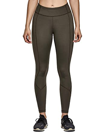 best service 32cb7 533d4 CRZ YOGA Women s Hugged Feeling High Waist Compression Leggings Bottom  Reflective Workout Tights 25 quot  Olive