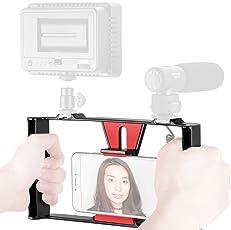 Neewer Smartphone dispositivo de vídeo, grabación de filmmaking vlogging Rig Funda, De mano agarre estabilizador con zapato Fría para iphone 7plus Sumsang y otros dentro de visualización de 17.8cm, luz LED, micrófono