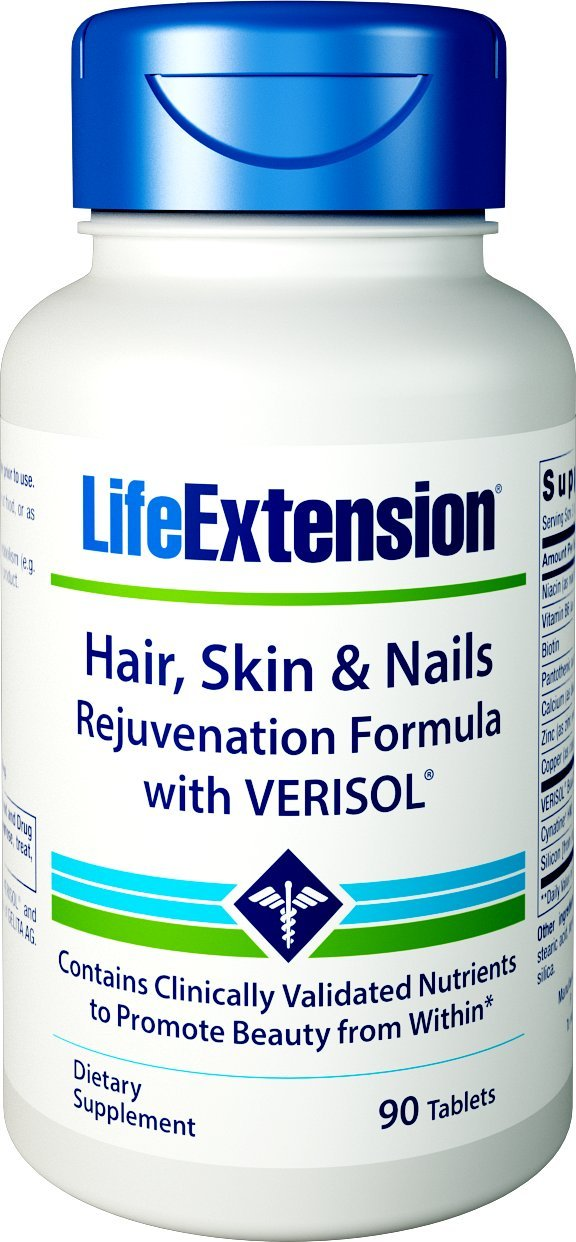 Life Extension Hair, Skin, and Nail Rejuvenation Formula with Verisol, 90 Tablets