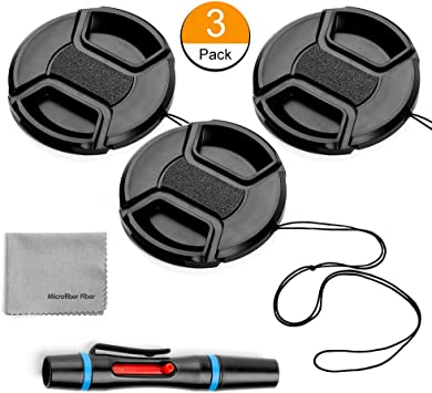 Camera Lens Cleaning Pen 67mm Lens Cap Bundle 3 Pack Universal Snap on Front Centre Pinch Lens Cover Set with Microfiber Lens Cleaning Cloth for Canon Nikon Sony Olympus DSLR Camera